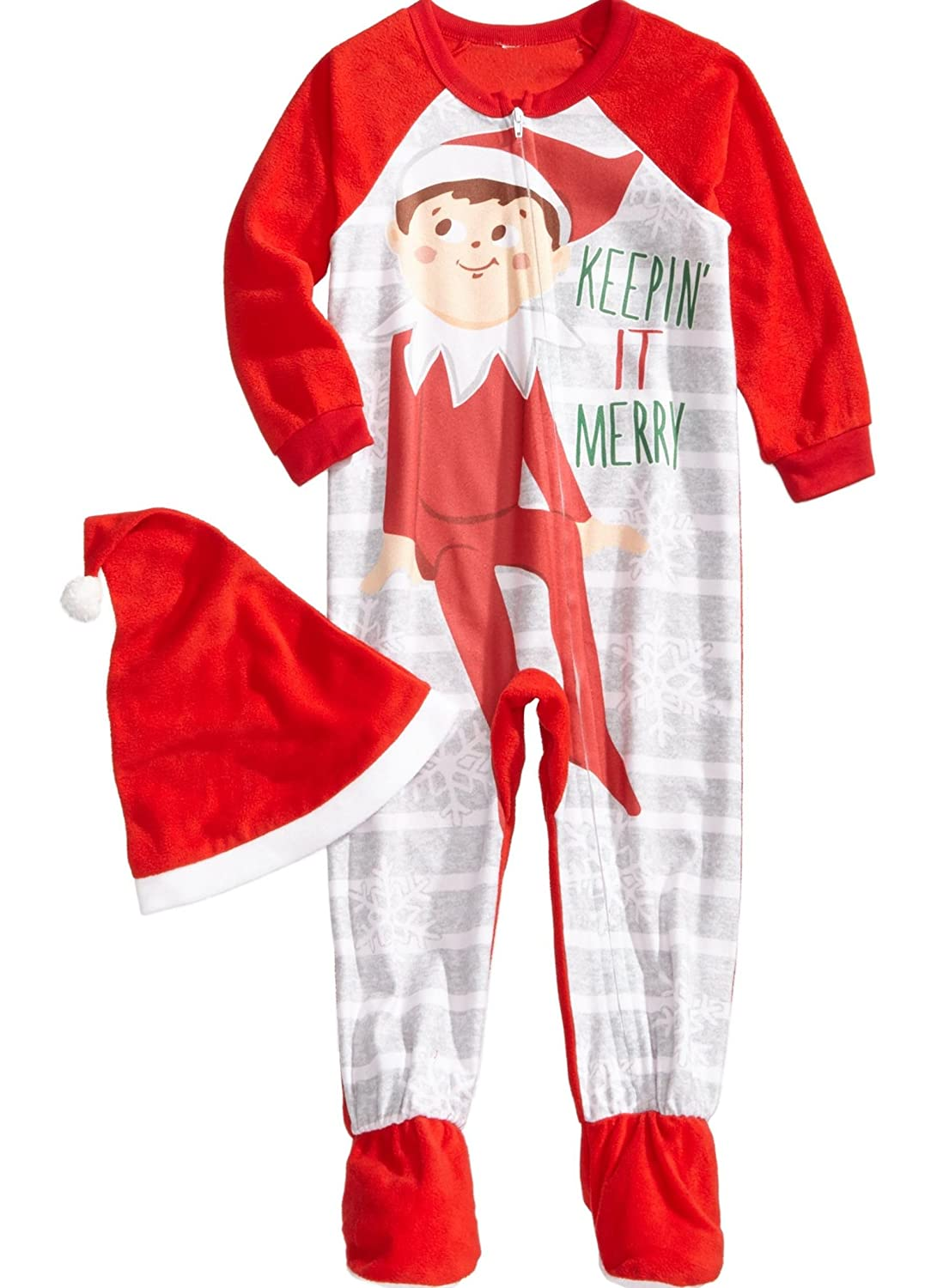 Elf on the Shelf Footie Toddler Boys Hat and Pajama Set