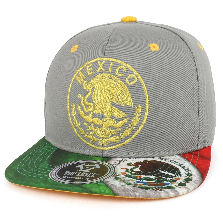 Trendy Apparel Shop Mexico Coat of Arms Golden Eagle Emblem Embroidered Snapback Cap - Grey