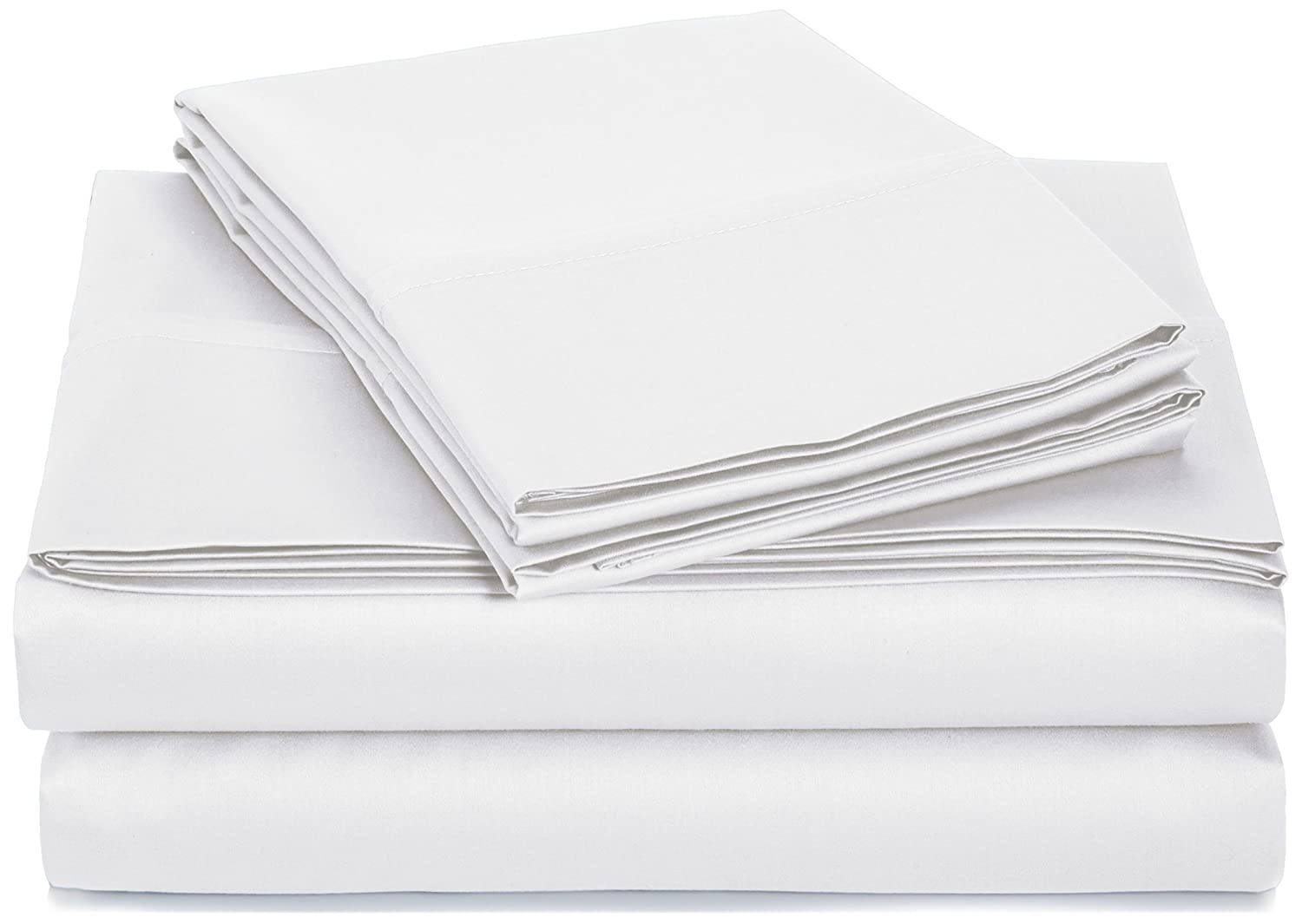 AmazonBasics 400 Thread Count Sheet Set, 100% Cotton, Sateen Finish - Queen, White