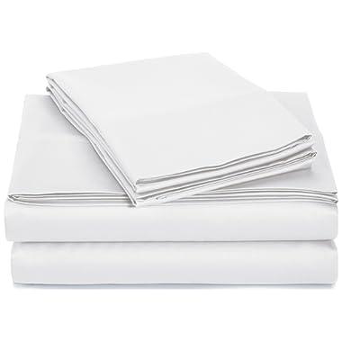 AmazonBasics 400 Thread Count Sheet Set, 100% Cotton, Sateen Finish - Queen, White