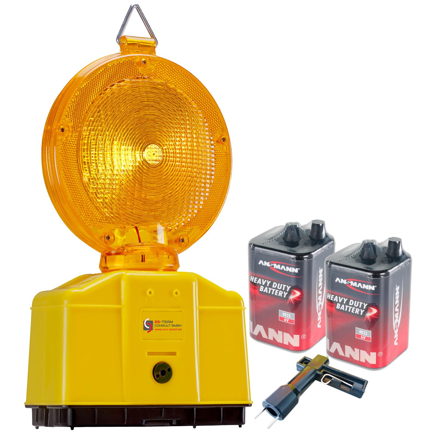 UvV - Baustellenleuchte, LED gelb, Warnleuchte - mit Secura-Halter, inkl. 2 x 6 Volt Ansmann Batterien (9 ah) und 1 x Lampenschlü ssel (gelb) ES-Team Consult GmbH