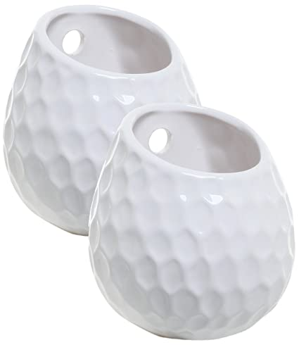 Amazon Mygift Set Of 2 Golf Ball Inspired White Small