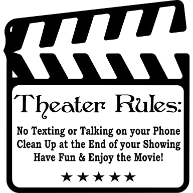 Theater Rules Movie Room Vinyl Wall Decal Lettering Quote Amazonco