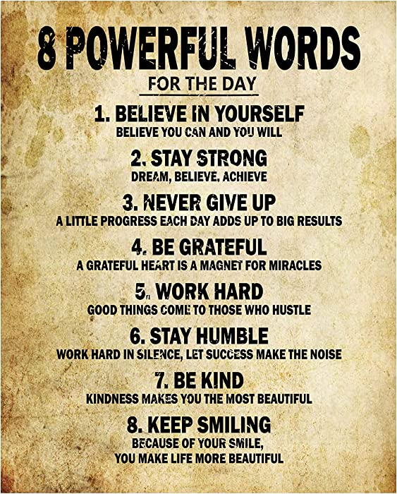 Motivational Quotes 8 Powerful Words for the day Poster Thick Cardstock Paper, Ready to be Framed 11