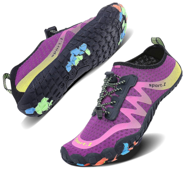 Purple_2 Wonesion Mens Womens Water Sport shoes Quick Dry Aqua Socks Barefoot Outdoor Beach Swim Surf Pool Yoga shoes
