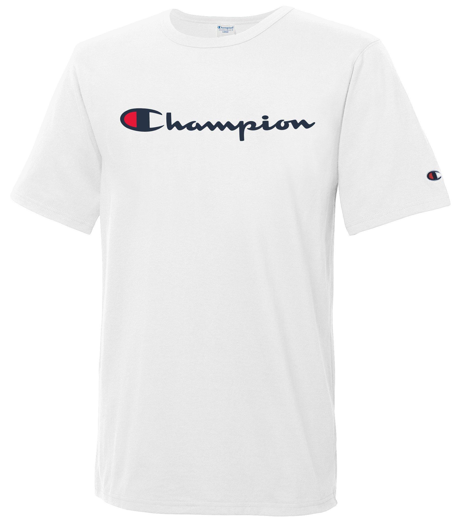 Champion LIFE Men's Heritage Tee, White/Patriotic Champion Script, M