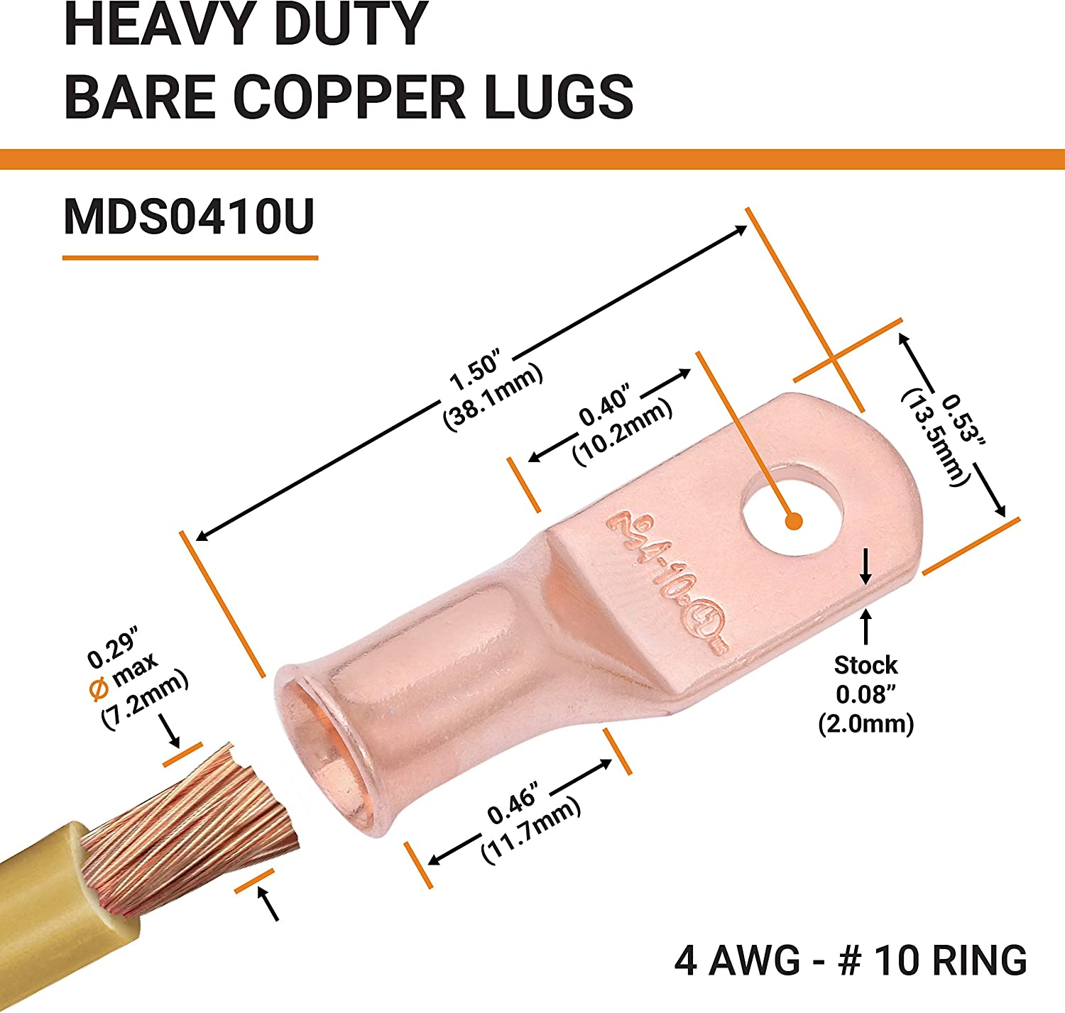 Tubular Ring Terminals Closed End Crimp Connectors /— SELTERM UL Listed Heavy Duty Wire Lugs Battery Cable Ends Bare Copper Eyelets 8 AWG to 250 MCM