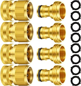 Garden Hose Quick Connect Fittings Solid Brass Quick Connector 3/4 Inch GHT Garden Water Hose Connectors with Extra Rubber Washers, Male and Female (4 Set)