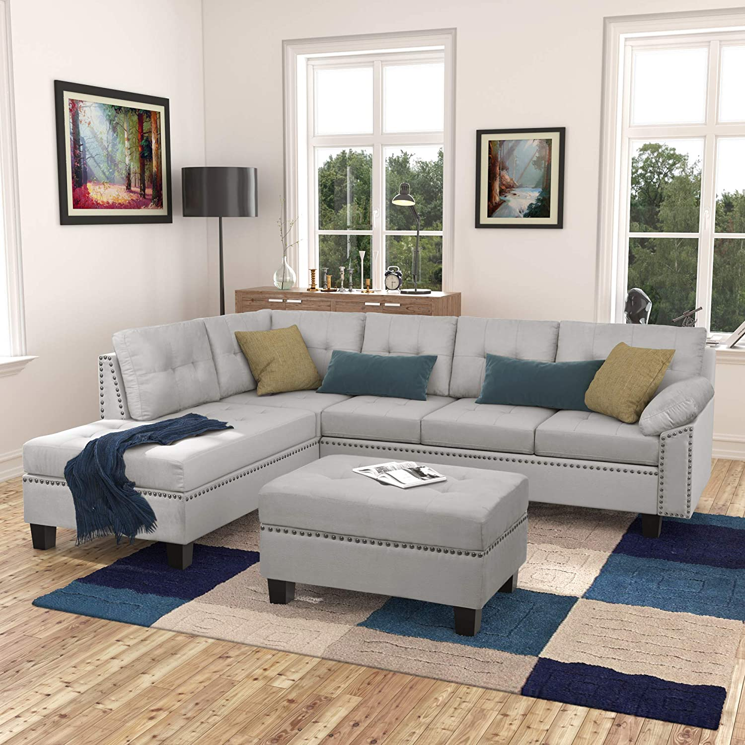 Merax Sectional Sofa with Chaise Lounge and Ottoman