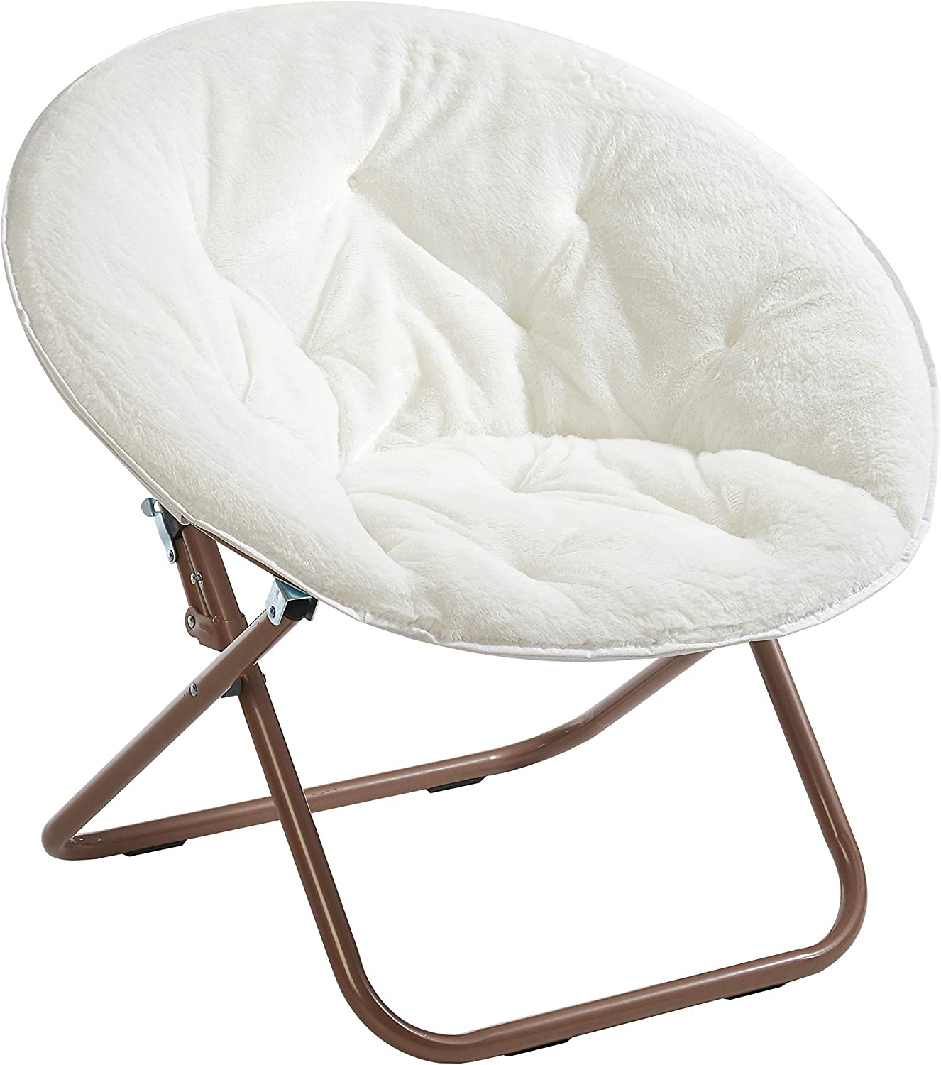 Amazon Com Urban Shop Faux Fur Saucer Chair With Metal Frame One Size White Furniture Decor