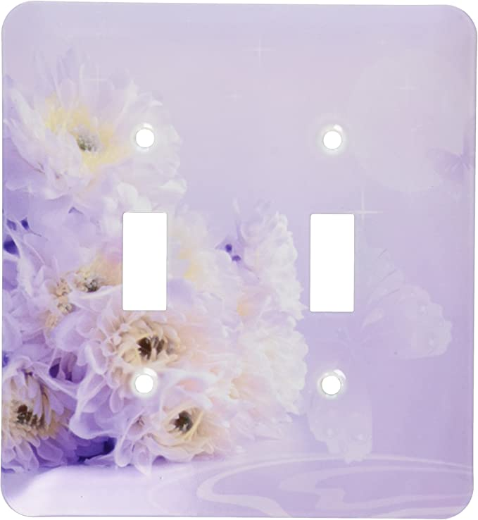 3drose Lsp 201109 2 A White Bouquet Of Flowers With A Purple Background And Butterflies Double Toggle Switch Multicolor Amazon Com