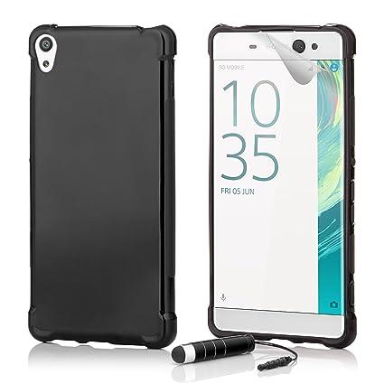 32nd Sony Xperia XA Funda Slim Defender Gel de Silicona Transparente Diseñada, Carcasa Ligera Ultra Fina Defensora - Negro
