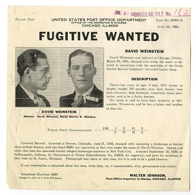 Wanted Sheet - David Weinstein - Mail Fraud - Chicago, IL - 1935 at