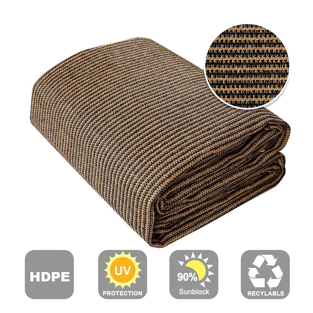 Shatex 90% Sun Shade Fabric for Pergola Cover Porch Vertical Screen 6' x 12', Coffee