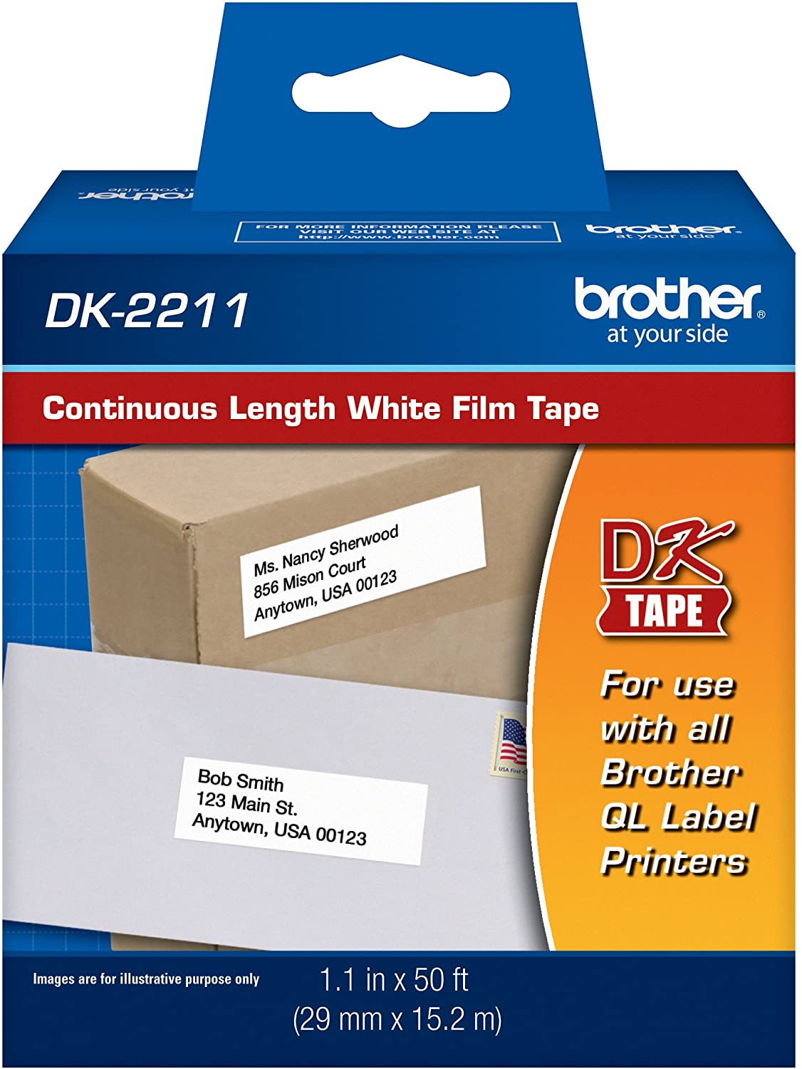"Brother Genuine DK-2211 Continuous Length Black on White Film Tape for Brother QL Label Printers, 1.1"" x 50' (29mm x 15.2M), 1 Roll per Box, DK2211 : Labeling Tape : Office Products"