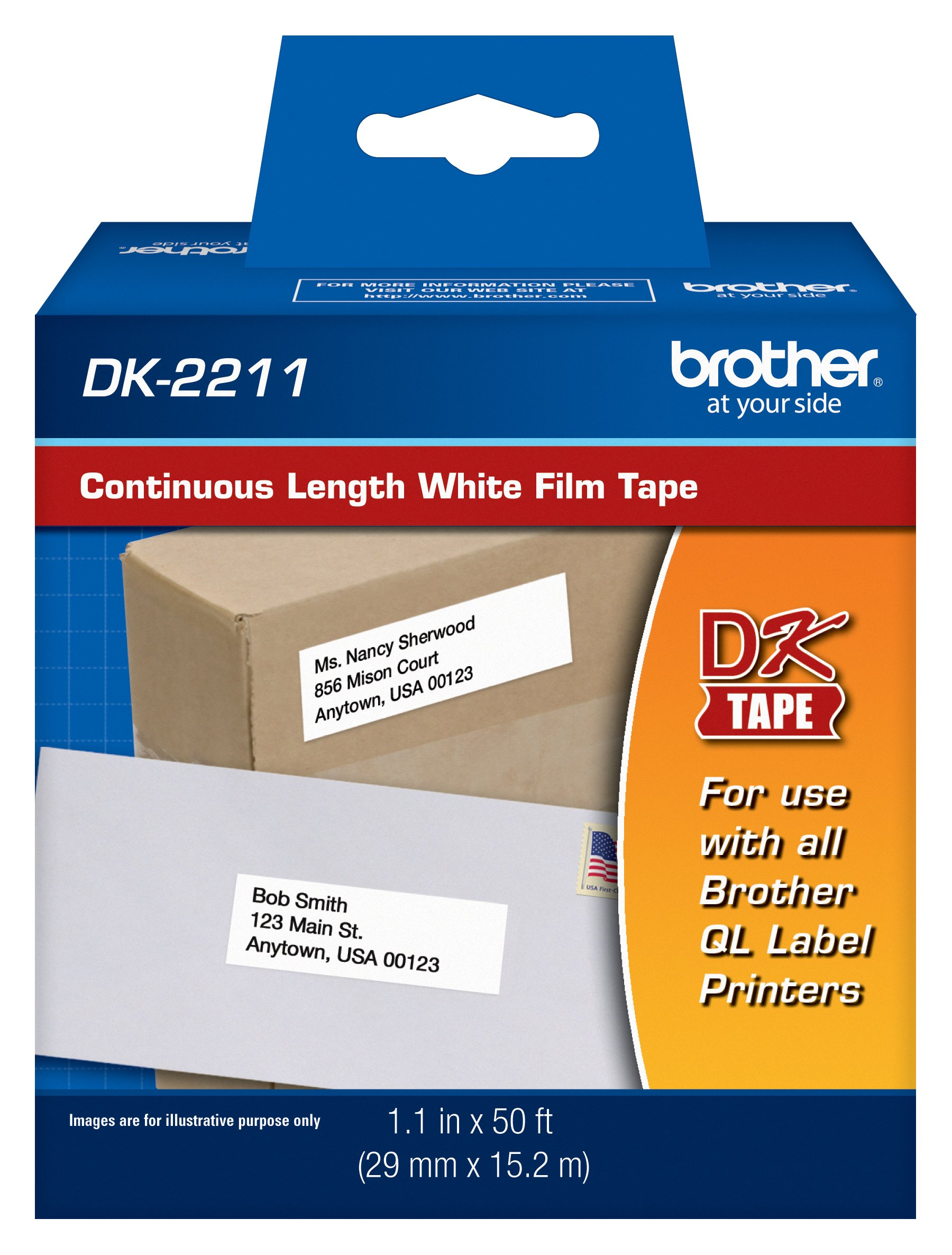 Brother Genuine DK-2211 Continuous Length Black on White Film Tape for Brother QL Label Printers, 1.1'' x 50' (29mm x 15.2M), 1 Roll per Box, DK2211