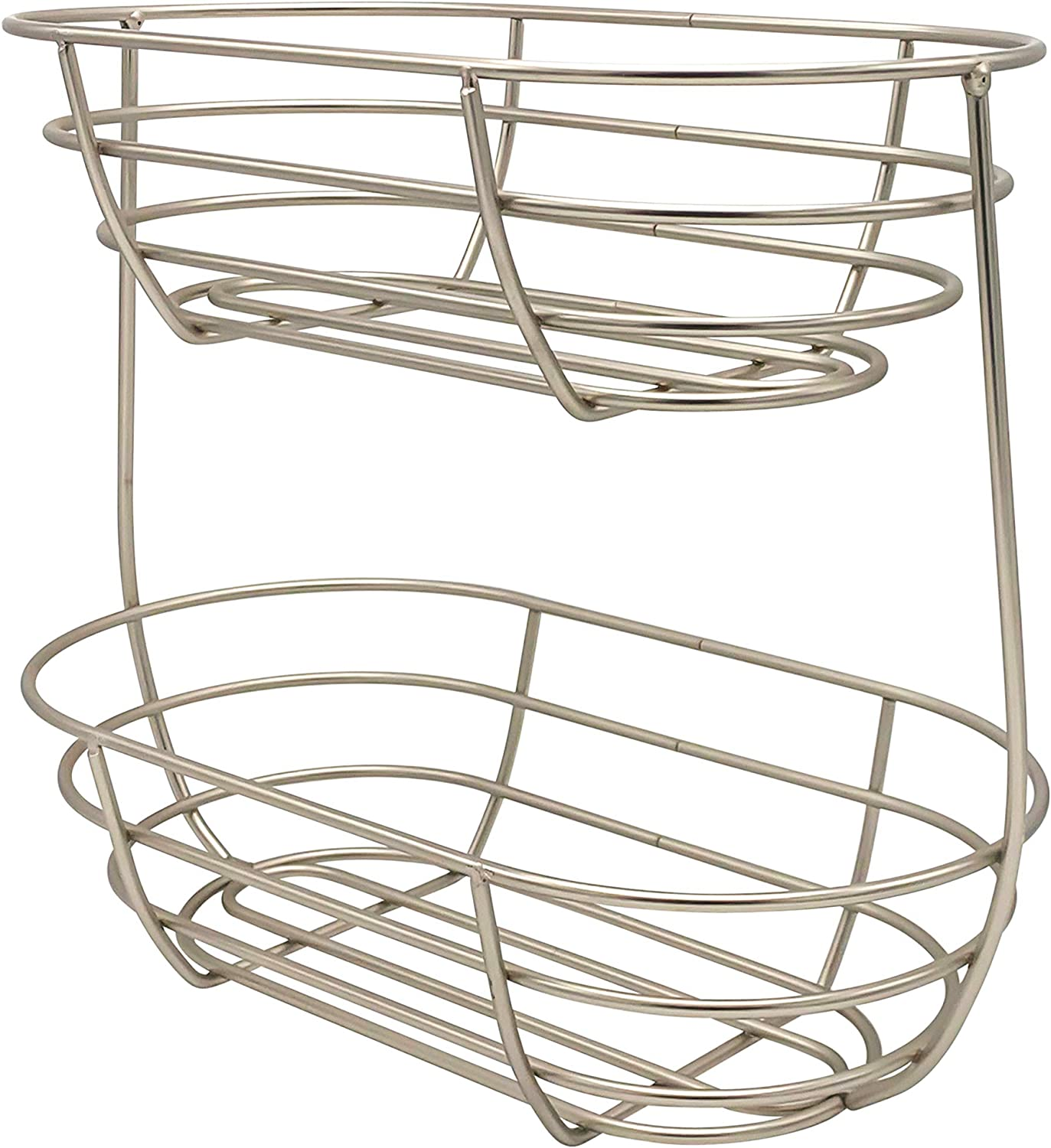 Spectrum Diversified Euro Arched Server Contemporary Stacked, 2-Tier Bowls for Modern Kitchen Counters, Sleek Fruit Basket Stand, Satin Nickel