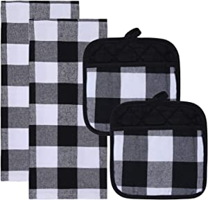 Aneco 4 Pack Check Plaid Dish Towels Pot Holders Oversized 18 x 28 inches Cotton Kitchen Dish Towels Fast Drying Cotton Tea Towels Check Plaid Gift Set