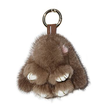 RitzyBay Handmade Real Mink Fur Bunny Keychain with RitzyBay GiftBox  (Brown 0b2738101606