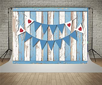 Kate 5x7ft Blue Rustic Wood Wall With Banner Backdrop For Birthday Party Backgrounds Photo Backdrops