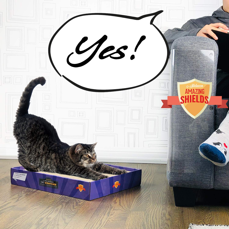 6 Shields + Scratcher + Catnip + Pins Stelucca Amazing Shields Set X-Large Furniture Predectors from Cats Cat Repellent for Furniture Cat Scratch Deterrent Cat Couch Predector Scratch pad Cat Couch Cat Scratcher
