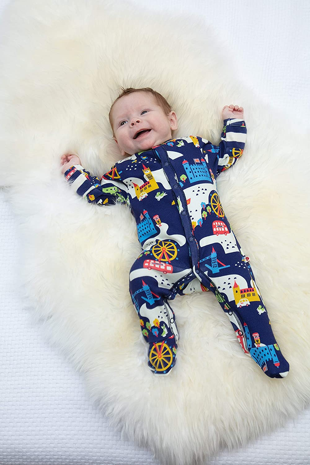 Soft Chemical Free Organic Cotton Piccalilly London Souvenir Baby Sleepsuit with Feet