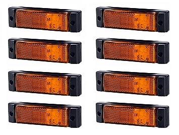 Amber 3 LED Orange Side Marker Light and Reflector 12//24v for Truck Lorrys /& HGV