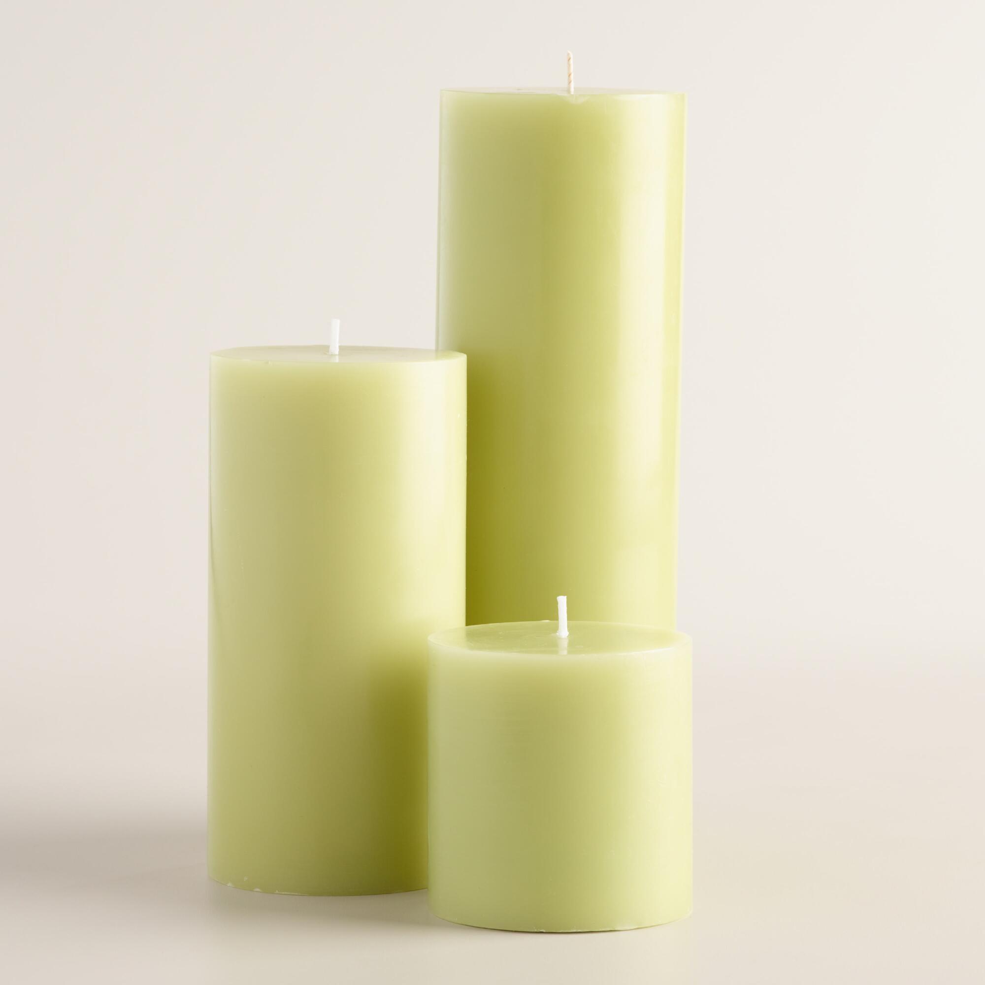 Light Green Unscented Pillar Candle   World Market