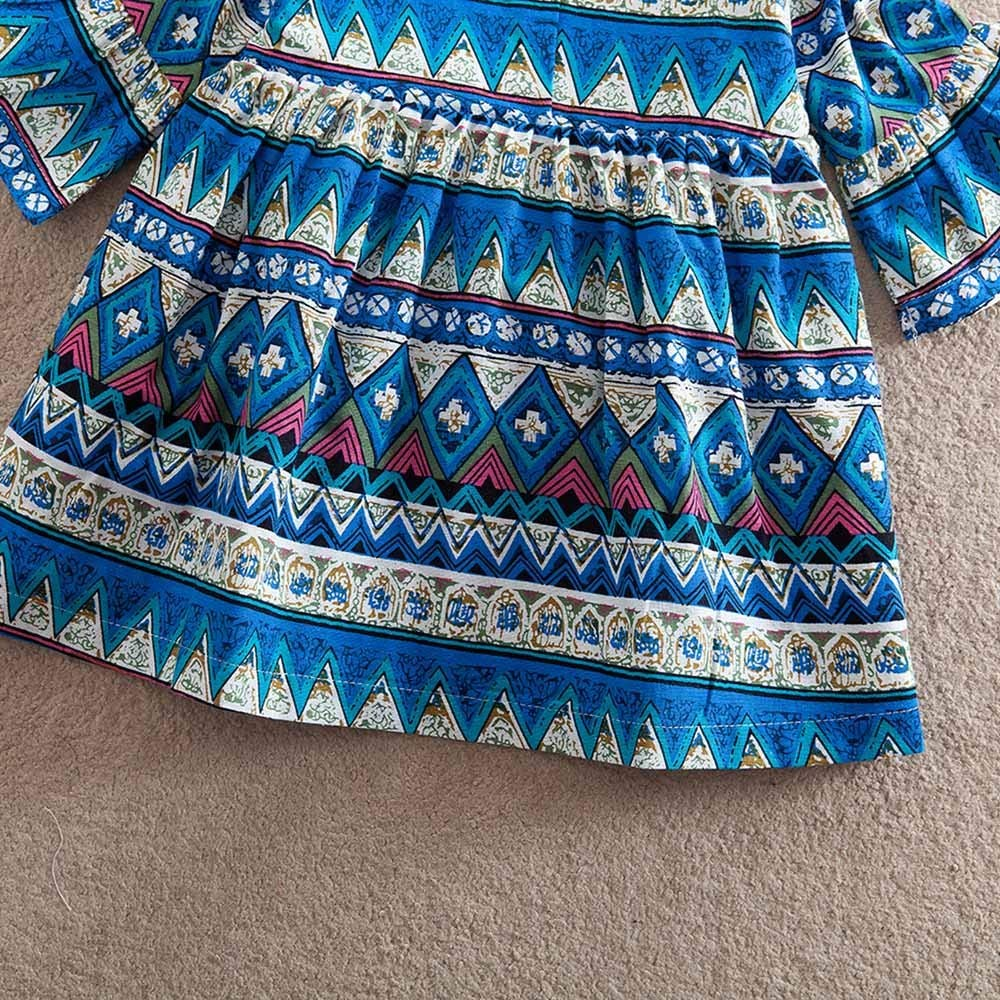 Amazon.com: Long Sleeve Print Bohemian Style Party Dress Outfits Clothes for Toddler Baby Girls: Clothing