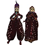 Handcrafted Colourful Wooden Face String Puppet Kathputli in Pair