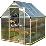 Palram Nature Series Mythos Hobby Greenhouse - 6' x 6' x 7'- Silver