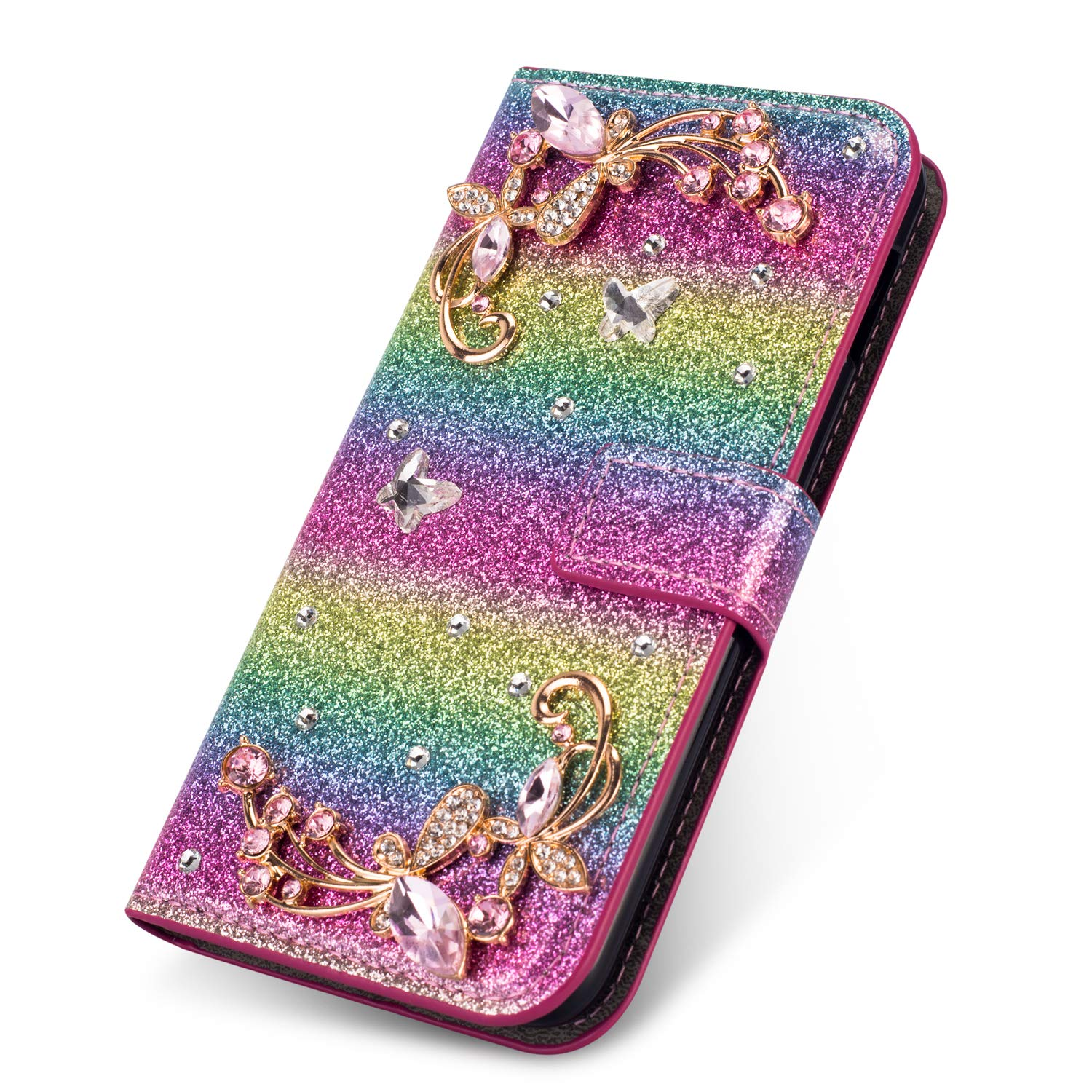 Diamond Wallet Leather Case for Galaxy A6 Plus 2018,Silver Glitter Flip Cover for Galaxy A6 Plus 2018,Herzzer Luxury 3D Flower Butterfly Decor Magnetic Stand Case with Inner Soft Rubber Case