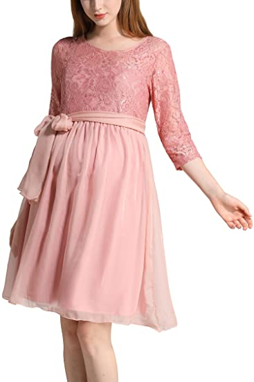 Molliya Maternity Dress Floral Lace Baby Shower Party Cocktail Dress with Ribbon(Pink,S