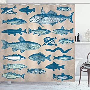 Ambesonne Fish Shower Curtain, Vintage Style Group of Various Different Fish Animals Seafood Theme Grunge Effect, Cloth Fabric Bathroom Decor Set with Hooks, 75