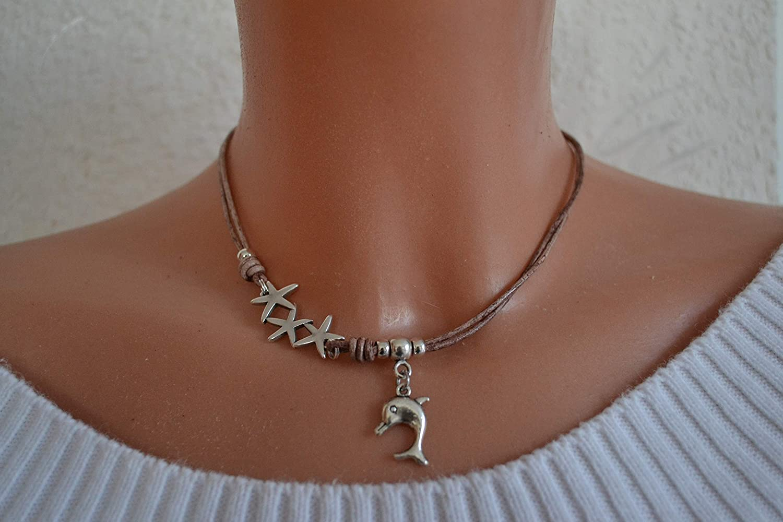 Halskette antik braun mit Delfin und Seesternen