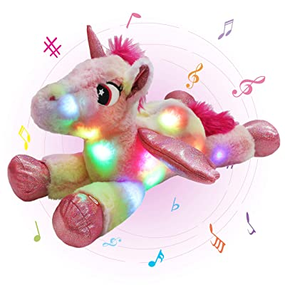 Glow Guards 18'' Light up Musical Stuffed Unicorn Soft Plush Pillow with LED Night Lights Nursery Rhyme Songs Rainbow Glow in Dark Bedtime Pal Gifts for Toddler Kids: Toys & Games