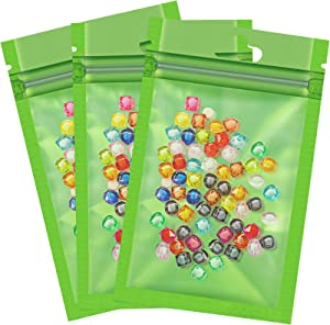 200 Pieces Foil Pouch Bag,Resealable Smell Proof Bags, Mylar Zip Lock Bags Aluminum Foil Bags, Metallic Mylar Foil Flat Food Storage Bags Pouch (Green)