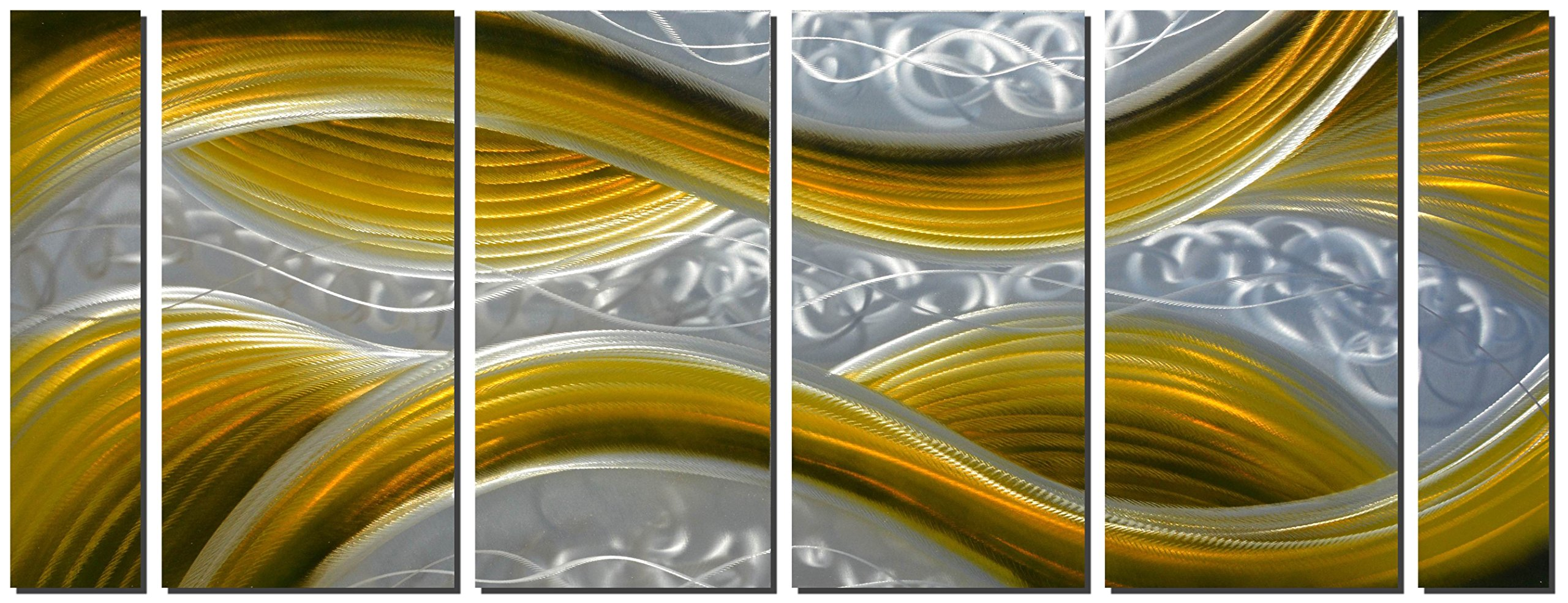 Handcrafted Abstract Metal Wall Art with Soft Color, Large Scale Decor in Yellow Line Design, 3D Artwork for Indoor Outdoor Wall Decorations, 6-Panels Metal Art Measure 24''x 65''