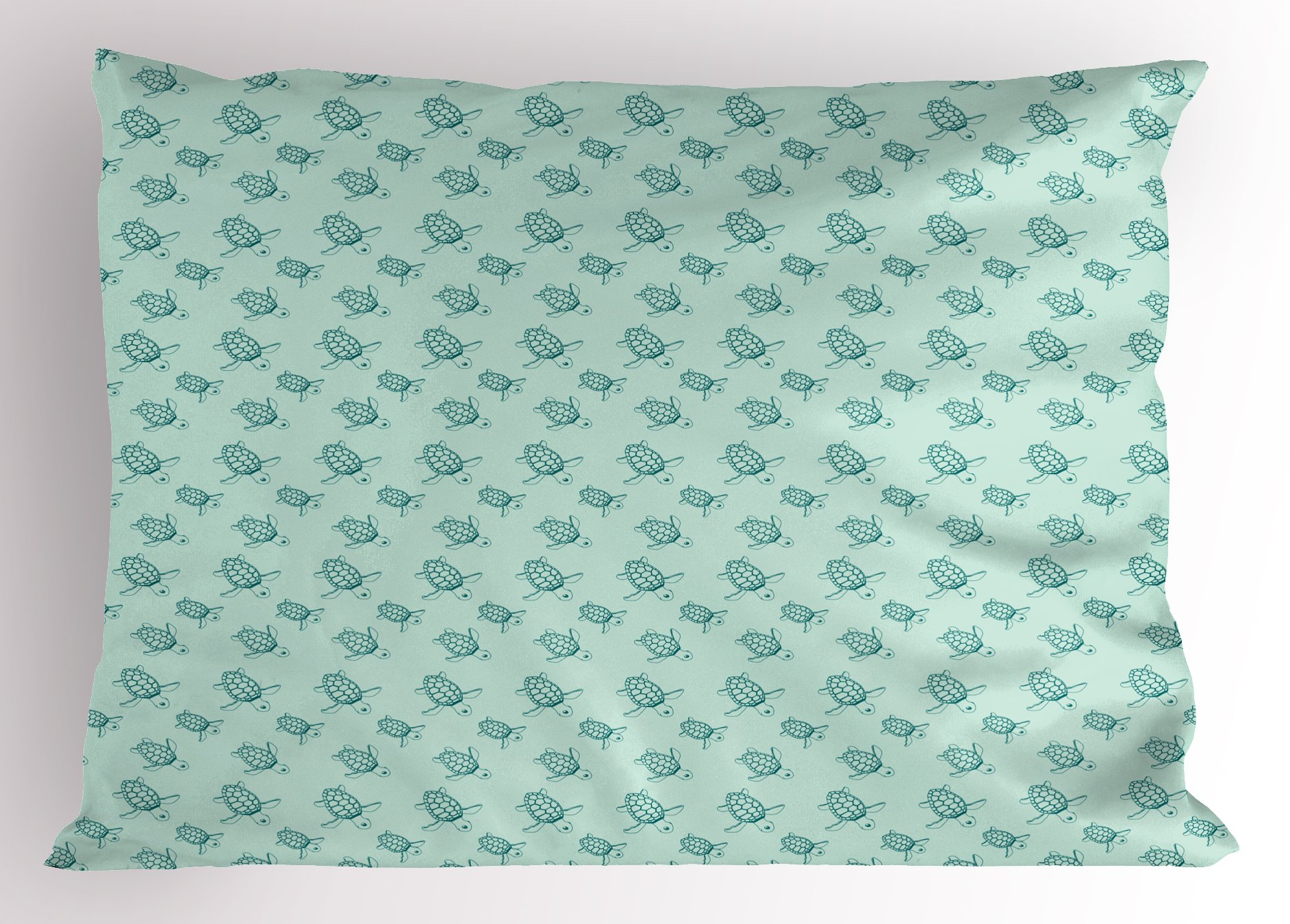 Lunarable Turtle Pillow Sham, Sea Pattern Underwater Wildlife Illustration Sketch Style Animal Composition, Decorative Standard Size Printed Pillowcase, 26 X 20 inches, Teal and Turquoise