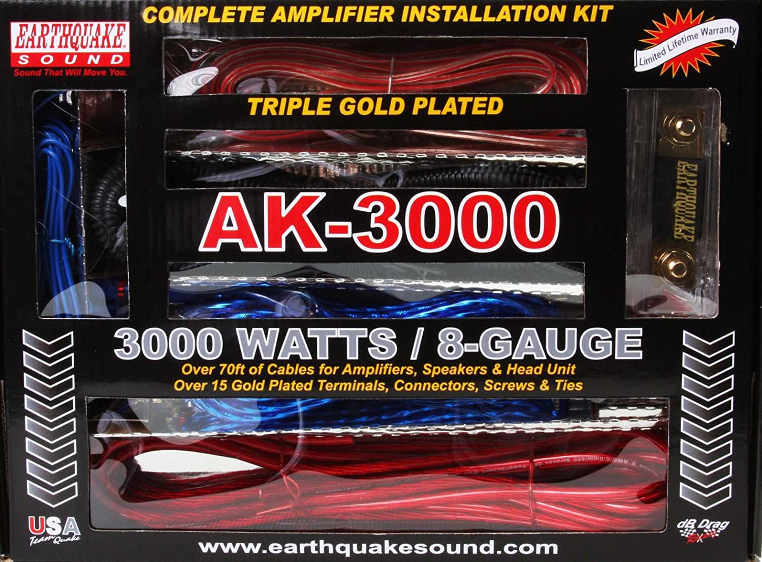 Earthquake Sound Ak 3000 Complete Amplifier Installation Wiring Kit 8ga Professional Car Kits Audio Electronics