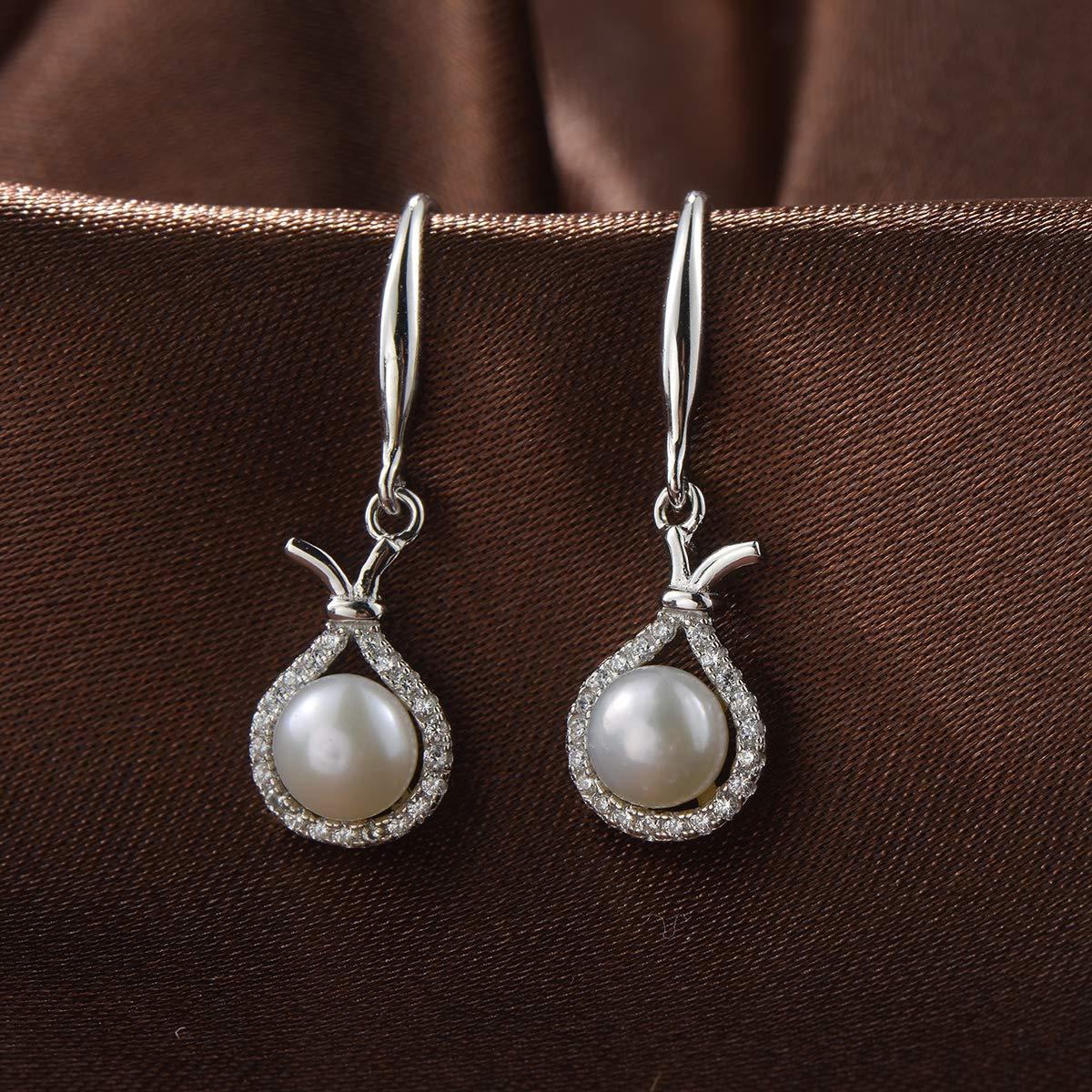 Sterling Silver Freshwater Cultured Pearl Dangle Drop Earrings Chic4K CZ Drop Earrings