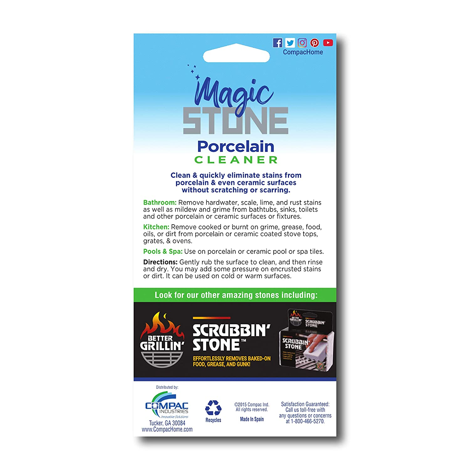 Amazon.com: Compacs Magic-Stone - Palo limpiador de ...