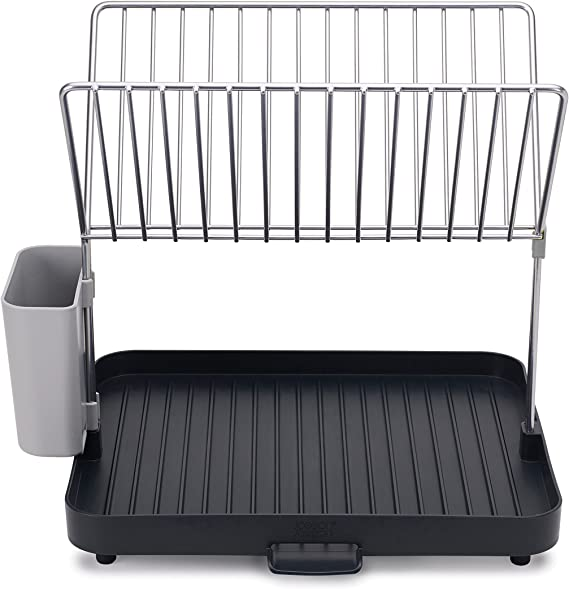 Joseph Joseph 85084 Y-Rack Dish Rack and Drain Board Set with Cutlery Organizer Drainer Drying Tray, Large, Gray
