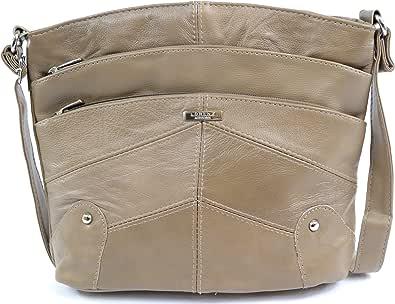 Bolso bandolera de cuero para mujer con múltiples bolsillos