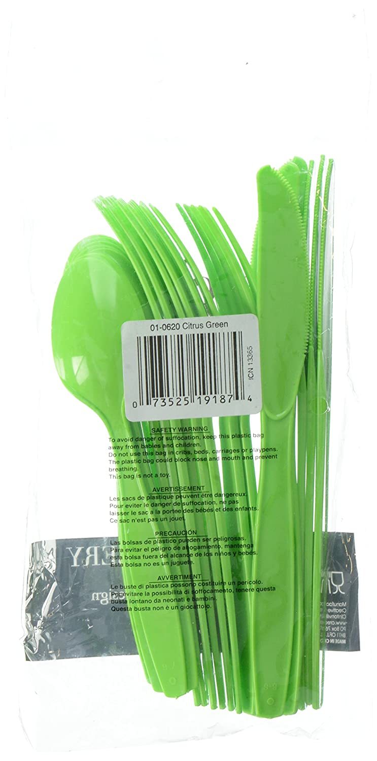 Amazon.com: Creative Converting Touch of Color 288-Count Case Premium Plastic Assorted Cutlery, Citrus Green: Kitchen & Dining