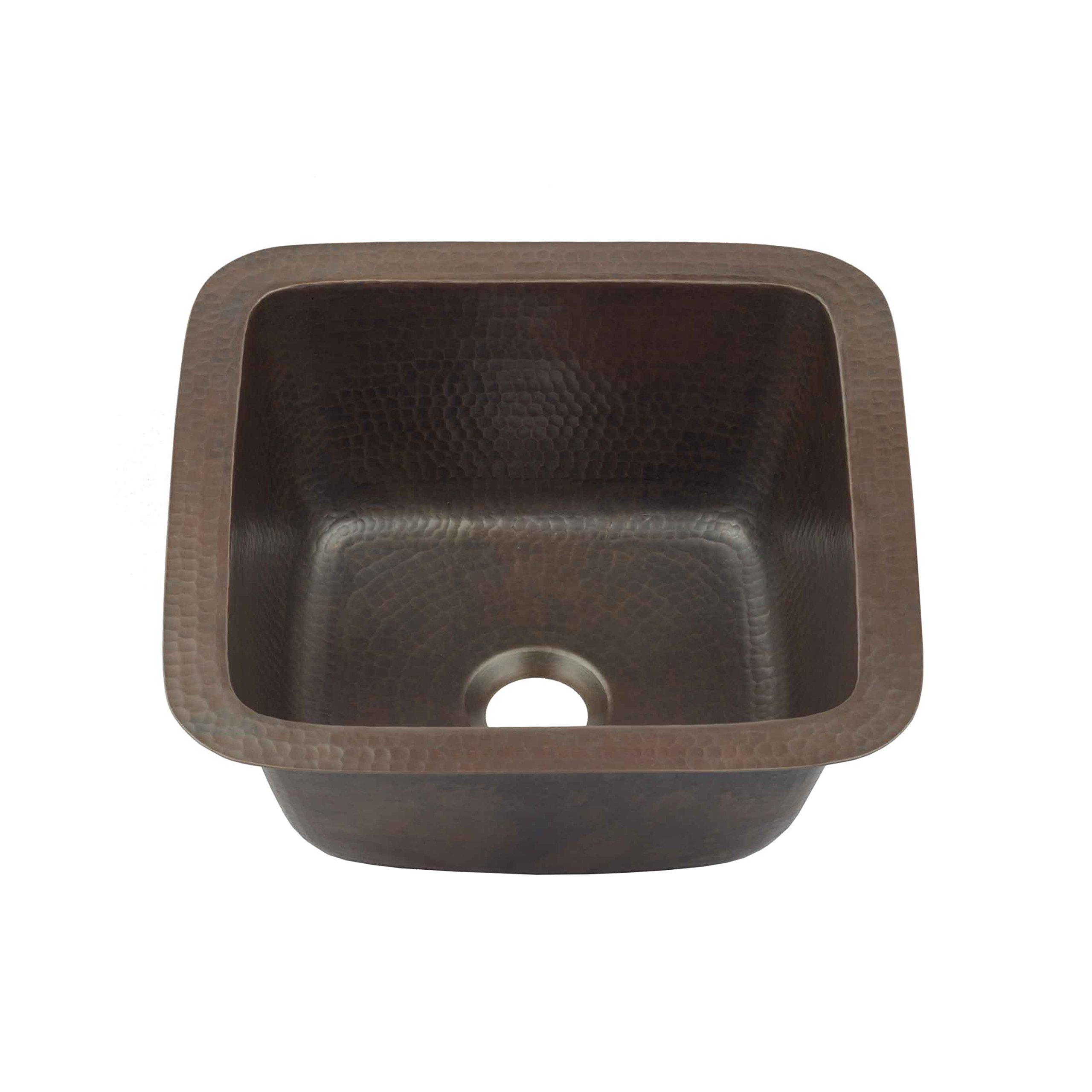 Sinkology P1U-1212BC Pollock Undermount Handmade Pure Solid 0-Hole Bar Prep Sink, 12'', Aged Copper