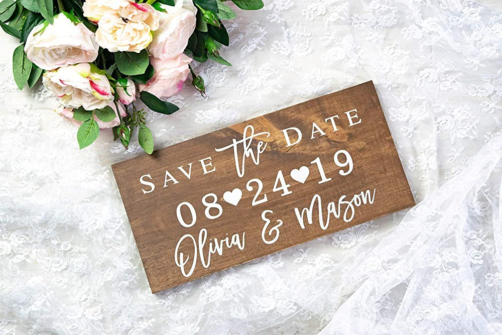 Save the Date Card Item - STD100 Save The Date Sign for Engagement Photography Prop Large Date Sign in Custom Colors and Glitter