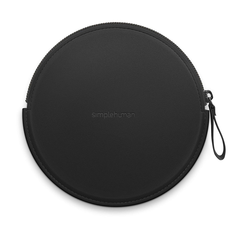 20 cm Simple Human Compact Vegan Leather Sensor Mirror Case Black