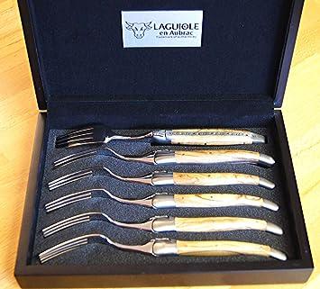 Laguiole en Aubrac 6 piezas, tenedor Set Brosse, Oliva, artesanal fabricado en Francia: Amazon.es: Jardín
