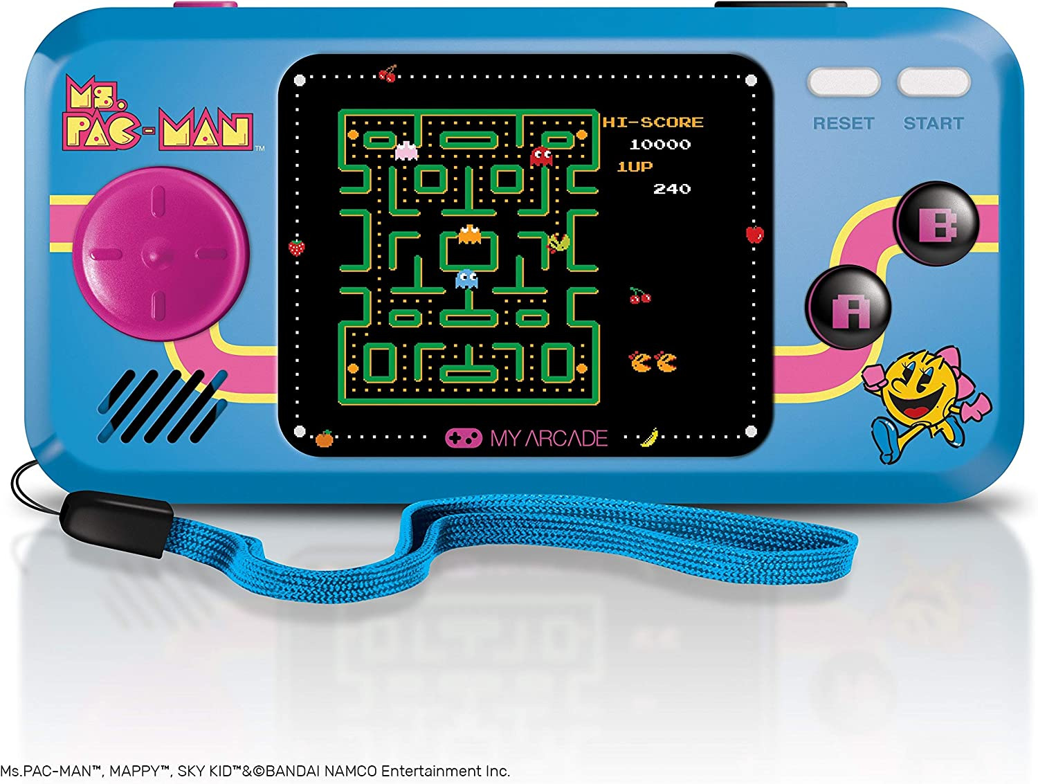 My Arcade Pocket Player Handheld Game Console 3 Built In Games Ms Pac Man Sky Kid Mappy Collectible Full Color Display Speaker Volume Controls Headphone Jack Battery Or Micro Usb Powered Electronics